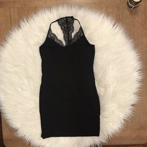 Express Black Body Con  Dress with Lace Small